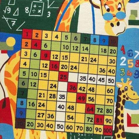 Confetti Halı - Confetti Çocuk Halısı Anti-Slip Math Class Sarı (1)