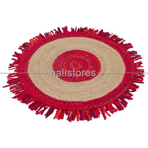 Halıstores - %100 Doğal Choti Jüt Sisal Yuvarlak Kilim Halı MX-05 Kırmızı (1)