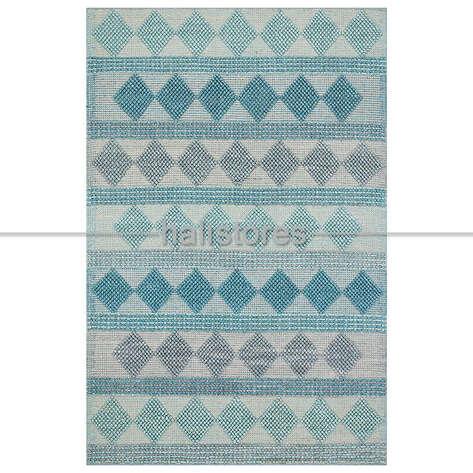 Halıstores - %100 Doğal Yün Örgü Halı Jade 01 Mavi (1)