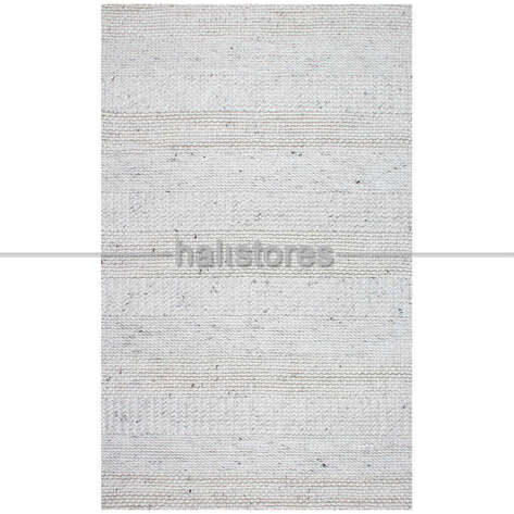Halıstores - %100 Doğal Yün Örgü Halı Jade J352 Beyaz (1)