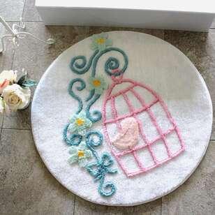 Alessia - Alessia Yuvarlak Banyo Halısı Kafes Krem (1)