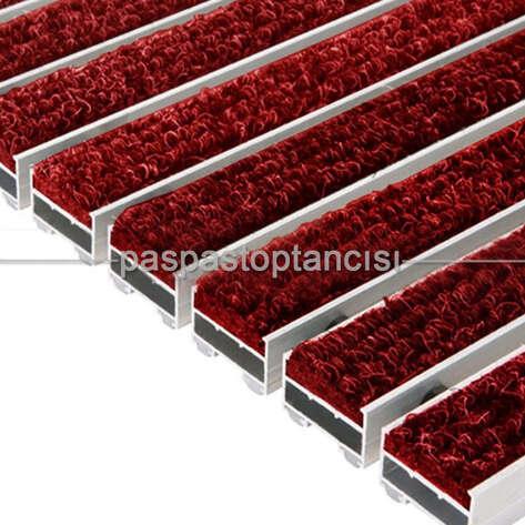 Paspas Toptancısı - Alüminyum Paspas Bukle Halı Fitilli UM1000 Kırmızı (1)