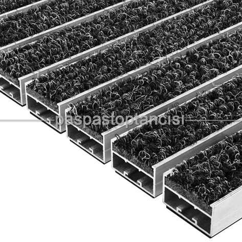 Paspas Toptancısı - Alüminyum Paspas Bukle Halı Fitilli UM1000 Siyah (1)