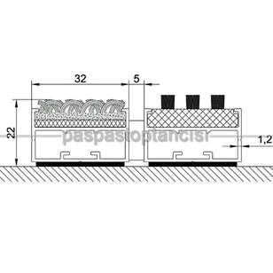 Alüminyum Paspas Bukle Halı Fitilli ve Fırça Fitilli UM1050 Siyah - Thumbnail