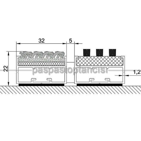 Alüminyum Paspas Bukle Halı Fitilli ve Fırça Fitilli UM1050 Siyah