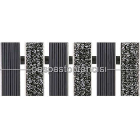 Alüminyum Paspas Bukle Halı Fitilli ve Yivli PVC Fitilli UM1020 Gri