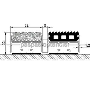 Alüminyum Paspas Bukle Halı Fitilli ve Yivli PVC Fitilli UM1020 Gri - Thumbnail