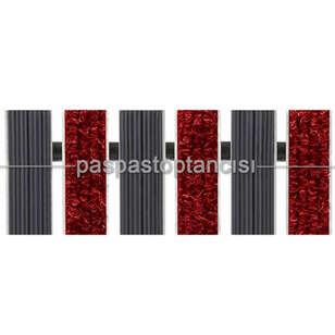 Alüminyum Paspas Bukle Halı Fitilli ve Yivli PVC Fitilli UM1020 Kırmızı - Thumbnail