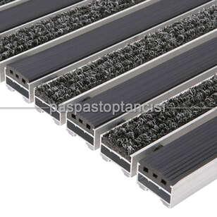 Alüminyum Paspas Bukle Halı Fitilli ve Yivli PVC Fitilli UM1020 Siyah - Thumbnail