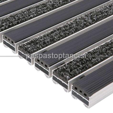 Alüminyum Paspas Bukle Halı Fitilli ve Yivli PVC Fitilli UM1020 Siyah