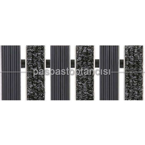 Paspas Toptancısı - Alüminyum Paspas Bukle Halı Fitilli ve Yivli PVC Fitilli UM1020 Siyah (1)