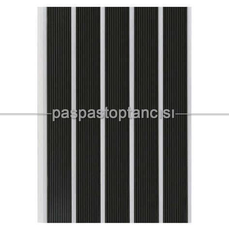 Paspas Toptancısı - Alüminyum Paspas Yivli PVC Fitilli SM2000 Siyah (1)