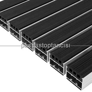Paspas Toptancısı - Alüminyum Paspas Yivli PVC Fitilli UM2000 Siyah (1)