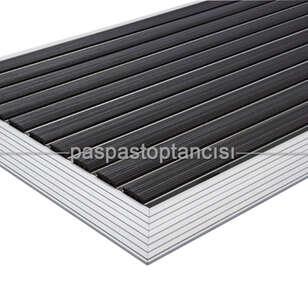 Alüminyum Paspas Yivli PVC Fitilli UM2000 Siyah - Thumbnail