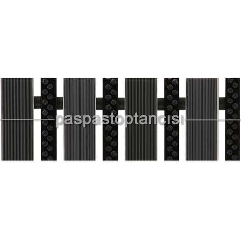 Alüminyum Paspas Yivli PVC Fitilli ve Plastik Fırça Fitilli UM2060 Siyah