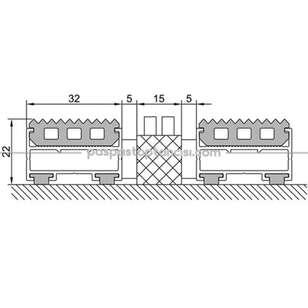Alüminyum Paspas Yivli PVC Fitilli ve Plastik Fırça Fitilli UM2060 Siyah - Thumbnail