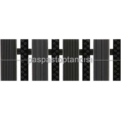 Paspas Toptancısı - Alüminyum Paspas Yivli PVC Fitilli ve Plastik Fırça Fitilli UM2060 Siyah (1)