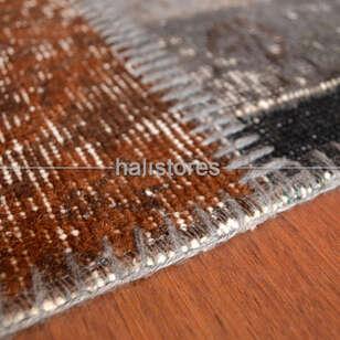 Apex Patchwork El Halısı Stripe Gri Kahve - Thumbnail