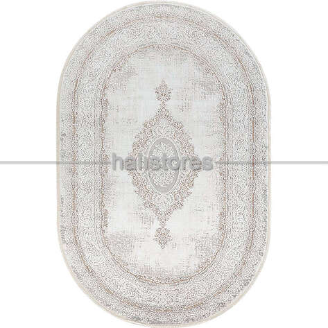 Bahariye Halı - Bahariye Oval Halı Ezgi 5664 Beyaz-Vizon (1)