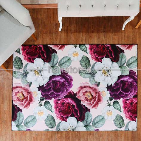 Halıstores - Çiçek Desenli Renkli Halı (1)