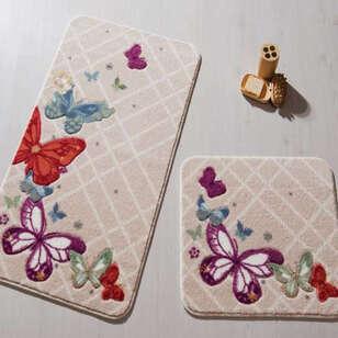Confetti Halı - Confetti 2li Klozet Takımı Butterfly Plaid Kırmızı (1)