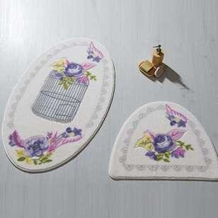 Confetti Halı - Confetti 2li Klozet Takımı Flower Cage Mor (1)
