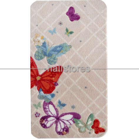 Confetti Halı - Confetti Banyo Halısı Butterfly Plaid Kırmızı (1)