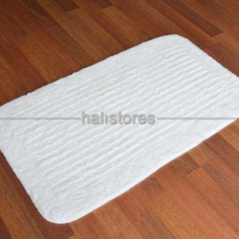 Confetti Halı - Confetti Banyo Halısı Cotton Stripe Beyaz (1)