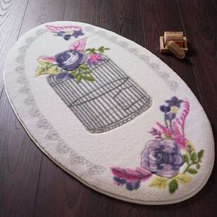 Confetti Halı - Confetti Banyo Halısı Flower Cage Mor (1)