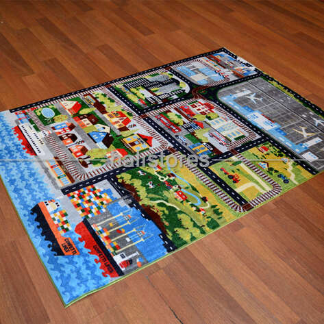 Confetti Halı - Confetti Çocuk Halısı City Tour Anti-Slip Gri (1)
