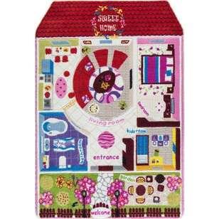 Confetti Halı - Confetti Çocuk Halısı Oymalı Pretty Home Kırmızı (1)