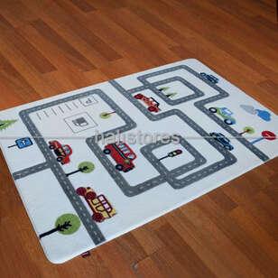 Confetti Halı - Confetti Çocuk Halısı Oymalı Roads Koyu Gri (1)