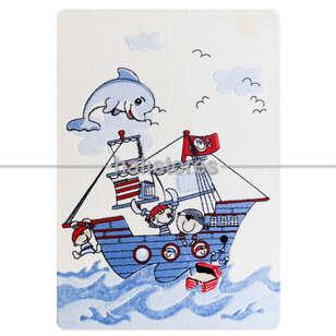 Confetti Çocuk Halısı Smiley Dolpin Mavi - Thumbnail