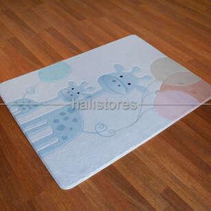 Confetti Halı - Confetti Çocuk ve Bebek Halıları Oymalı Happy Giraffe Açık Mavi (1)