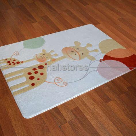 Confetti Halı - Confetti Çocuk ve Bebek Halıları Oymalı Happy Giraffe Sarı (1)