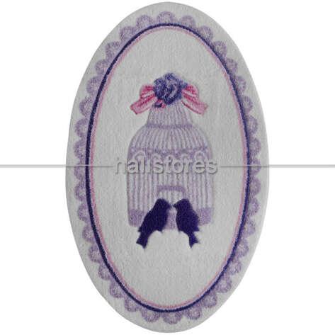 Confetti Halı - Confetti Kaymaz Banyo Halısı Bird Cage Mor (1)