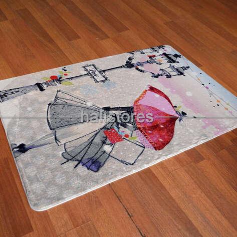 Confetti Halı - Confetti Kız Çocuk Halısı Oymalı Umbrella Koyu Gri (1)