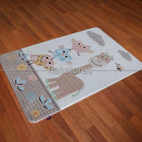 Confetti Halı - Confetti Oymalı Çocuk ve Bebek Halısı Owls Kum (1)