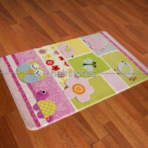 Confetti Halı - Confetti Oymalı Çocuk ve Bebek Halısı Patchwork Pembe (1)