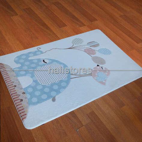 Confetti Halı - Confetti Oymalı Çocuk ve Bebek Halısı Spotty Elephant Açık Mavi (1)