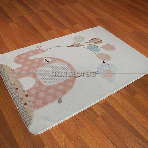 Confetti Halı - Confetti Oymalı Çocuk ve Bebek Halısı Spotty Elephant Açık Pembe (1)