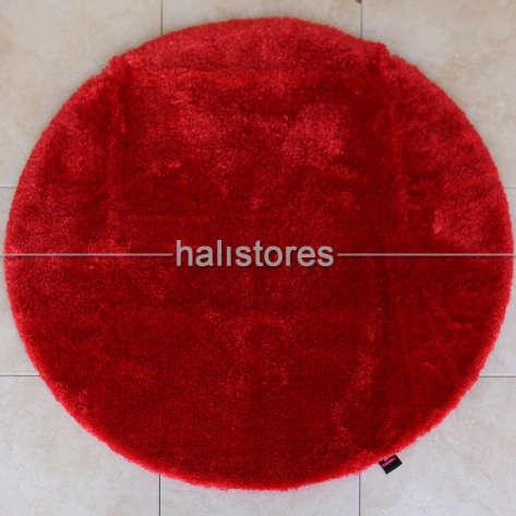 Confetti Halı - Confetti Yumuşak Tüylü Yuvarlak Kırmızı Halı Miami (1)