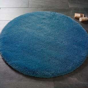 Confetti Yumuşak Tüylü Yuvarlak Koyu Mavi Halı Miami - Thumbnail