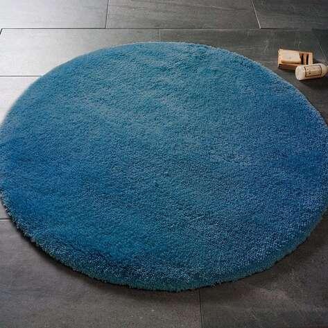 Confetti Yumuşak Tüylü Yuvarlak Koyu Mavi Halı Miami