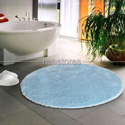 Confetti Halı - Confetti Yumuşak Tüylü Yuvarlak Pastel Mavi Halı Miami (1)