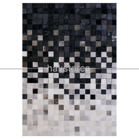 Deri Halı Siyah-Beyaz Geçişli