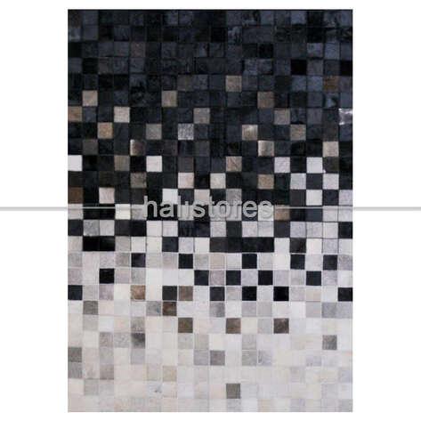 Liviadora - Deri Halı Siyah-Beyaz Geçişli (1)