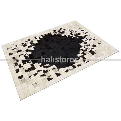 Liviadora - Deri Patchwork Halı Beyaz-Siyah Geçişli (1)