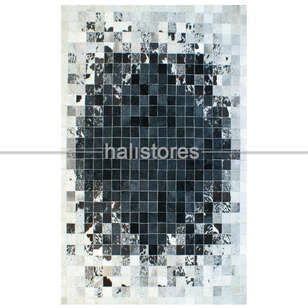 Deri Patchwork Halı Siyah-Beyaz Geçişli - Thumbnail
