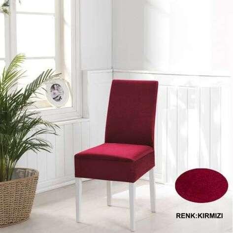 Esnek Likralı Kadife Kırmızı Sandalye Kılıfı